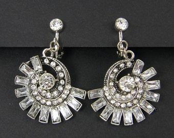 Rhinestone Clip on Earrings Silver Clear Vintage Style Spiral Baguette Dangle Dressy Evening Screw Back Earrings |EC2-19