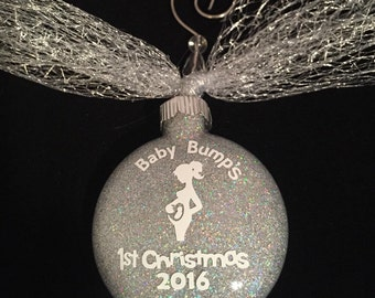 Silver Pregnant Christmas Ornament Baby Bump Ornament Pregnancy Ornament