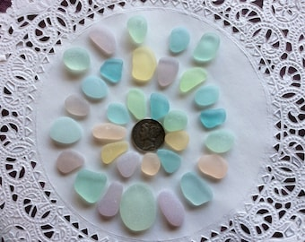 30  Medium & Small Pastel genuine sea glass Pink Aqua PB-A21-32-K