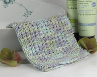 Hand knitted dish cloth - wash cloth - soft cotton lavender mint green cream multicolored
