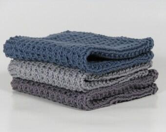 Hand knitted dish cloth - wash cloth - soft cotton set of 3 dusty blue purple grey concrete grey