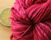 Hot Kiss - Handspun Hot Pink Yarn Wool Heavy Worsted Weight