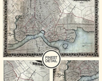 Summer sale 15% OFF Old Brooklyn map, Wall map - Brooklyn Map Print (1863) - interior map design, home decor - 087