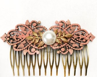 Coral Hair Comb Wedding Hair Slide Gold Leaf Pink Bridal Headpiece Pearl Hair Comb Bridesmaid Gift Romantic Salmon Pink Hair Comb