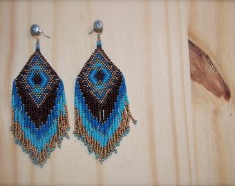 Hand beaded peyote stitch earrings