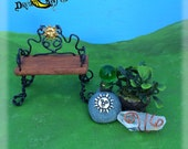Fairy Garden Bench + Accessories // Includes Crystal Quarts