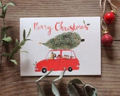 Driving Home for Christmas - Illustrated Christmas Card
