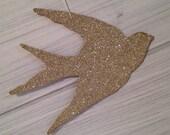 Swallow Bird Ornament Silver Glitter Christmas Ornament Vintage Decor Shabby Chic Handmade