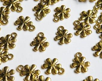 20 Flower snowflake charms 6 petals antique gold 13x11mm PGLF0298Y