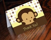 INSTANT DOWNLOAD Yellow Mod Pod Pop Monkey Thank You Cards Digital Files