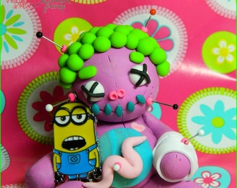 Girty McClumsy.  Miniature Minion Voodoo Doll. Hand Sculpted Polymer Clay Figurine