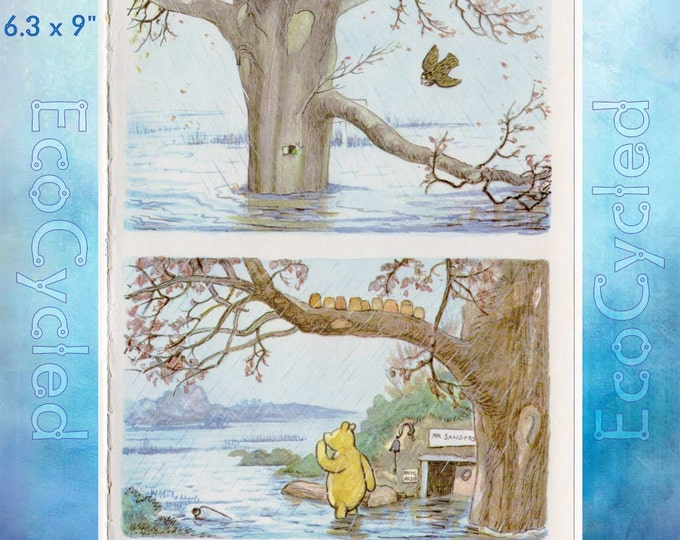 Winnie the Pooh Piglet and Owl Vintage Paper Ephemera Book Page original full page Shepard Illustration bookworm gift