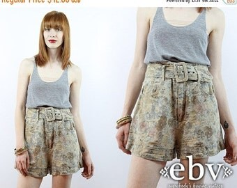 Vintage 90s High Waisted Floral Shorts XS S High Waisted Shorts High Waist Shorts Linen Shorts