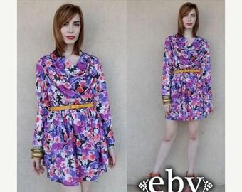 Secretary Dress Floral Dress Peplum Dress Day Dress Vintage 80s Floral Peplum Mini Dress S M