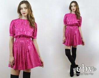Vintage 80s Hot Pink Puff Sleeve Mini Dress XS Babydoll Dress Dolly Dress Hot Pink Dress Secretary Dress Puff Sleeve Dress 80s Dress 1980s