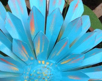 """Turquoise Blue Metal Flower - 12"""" Metal Yard Art - Hanging Zinnia - Indoor Outdoor Patio Fence Front Door Wall Decor"""