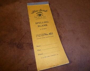 Spelling Notebook Vintage Blue Bond Blank Paper for School Spelling Tests