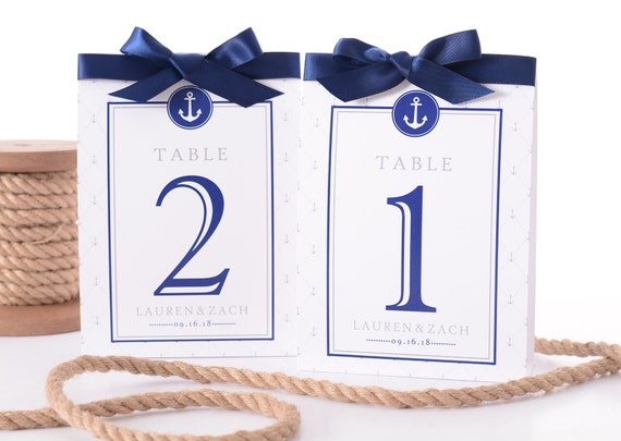 Like this item?  sc 1 st  Etsy & Nautical Wedding Table Number Tent Cards Nautical Wedding