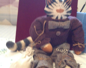 Hand Made Tiger Cat in Wool Outfit Carrying Sack, Hobo Cat