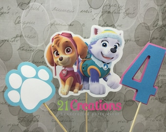 Paw Patrol Everest and Skye Centerpiece Insert or Cake Topper
