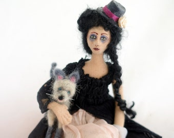cloth art doll posable Victorian Goth needle felted Siamese cat Steampunk style