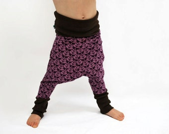 Girls harem leggings organic cotton lilac purple baggy baby pants leaf flower scandinavian retro childrens stretch knit trousers stretchy