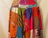 BIG CLEARANCE SALE Exotic Silky Patchwork Indian Dhoti Harem Yoga Meditation-Boho Hipster Festival Hippie Tribal Folk Gypsy-Pants-Medium-30""