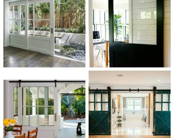 Barn Doors Vintage Bottle Glass Door, Dutch Door Single Door