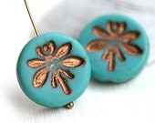 Dragonfly beads, Turquoise czech glass pressed beads, Dragonflies ornament, coin shape, round - 18mm - 2Pc - 1431