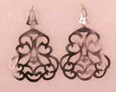 Oversized French Victorian Silver Plated Baroque Chandelier Earrings Hook as Clasp A Must