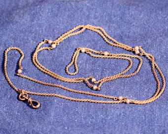 French Victorian vermeil Long Necklace Blown Pearls Twisted Chain Hook For Keys Or Watch Stamped