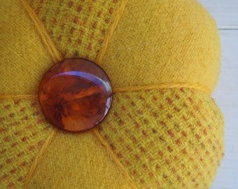 Pincushion - Felted Wool - Bright Gold  - Vintage  Bakelite Button