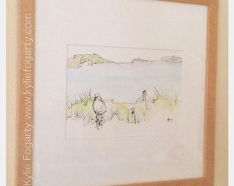 Seagull on the Shoreline -  Matted - Original Pen and Wash Painting by Kylie Fogarty