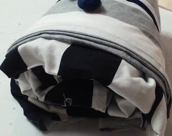 2x2 Black & White Striped Cotton Fabric Bundle