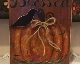 Fall Shelf Setter Housewarming Gift Fall Decor Cottage Chic Country Home Holiday Block Handmade Ready to Ship