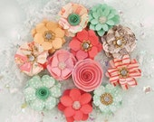 Prima Marketing Sweet Peppermint Flower Embellishement Style Holiday Kisses New Release In Stock Ready To Ship