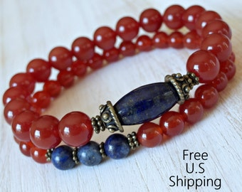 Courage, set of 2 bracelets, Yoga stack, Yoga bracelets, bracelet set, Reiki Charged, stacking malas, yoga stack, Carnelian, Lapis Lazuli