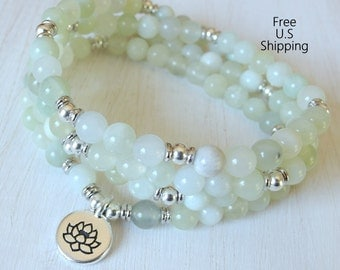 Serpentine 108 mala,Om, Mala Bracelet or Necklace,Reiki charged, Buddhist Rosary, Prayer beads, Gemstone, wrist mala, Lotus, buddha, ohm, om