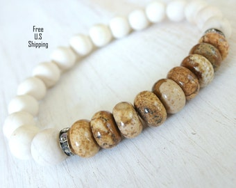 Tranquility, Picture Jasper, River Jasper Yoga bracelet, Energy bracelet, Healing bracelet, Reiki Charged, Yoga jewelry, gemstone bracelet,