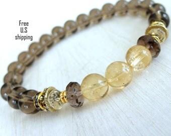 Positivity & Fortune, Smoky Quartz, Citrine, wrist mala, Yoga Bracelet, energy bracelet, gemstone, wrist mala, quartz, citrine bracelet