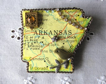 Arkansas State Puzzle Piece Brooch