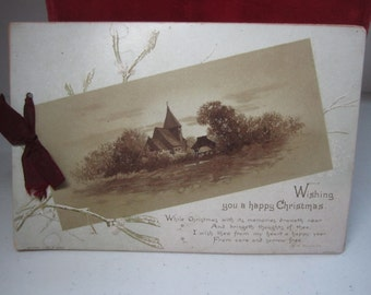 Antique Raphael Tuck and Sons 1880's artistic series christmas greeting booklet with artwork by Albi Bowers,poem H.M. burnside,holly berry