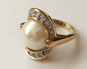 Vintage Late 1980s Enormous Faux Pearl and Rhinestones Cocktail Party Ring