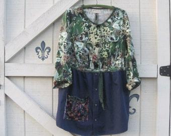 Hippie tunic dress, Bohemian tunic tunic dress, jacket dress mini Shirt dress, Rustic clothing, L, upcycled clothing