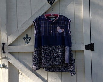 Hippie top tunic, L-XL babydoll top blue plaid, patchwork rustic top, Made in USA.