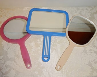 Vintage Hand Mirror Collection of 3 Plastic Acrylic Celluloid Pink Blue Beige