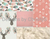 Deer Baby Girl Crib Bedding - Tulip Fawn, Feathers, Tulip Weathervanes,  Ivory Crushed minky, and Coral Crib Bedding Ensemble