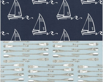 Cart Cover- Reversibe Navy Sail Boat and Light blue Oars Highchair/Cart Cover