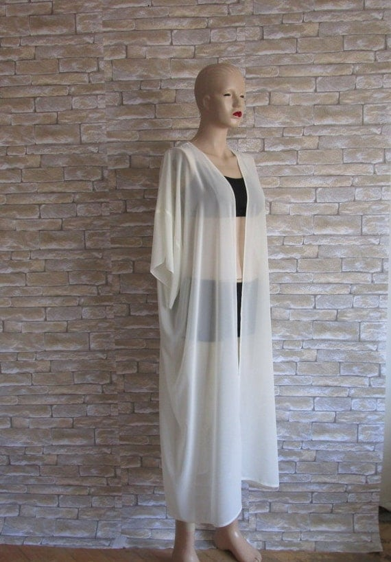 Sheer gauzy off white handmade kimono cardigan cover up Long