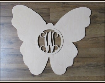 """Butterfly Door Hanger with Letter - Unpainted Wood - 22"""" size - Kitchen - Bedroom - Family - Wooden Letter - Wall Hanging - Monogram"""